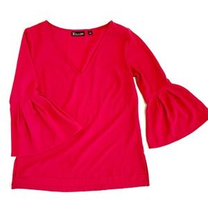 New York & Company 3/4 Peplum Sleeve Blouse pink